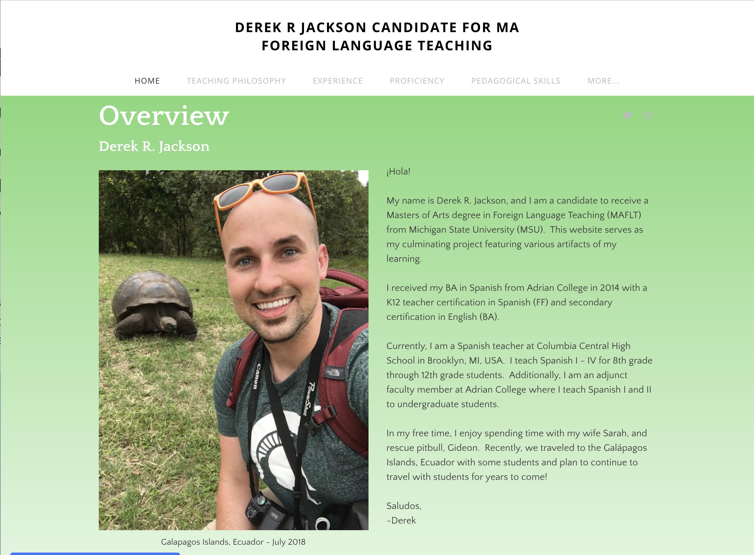 screenshot of Derek Jackson's portfolio landing page