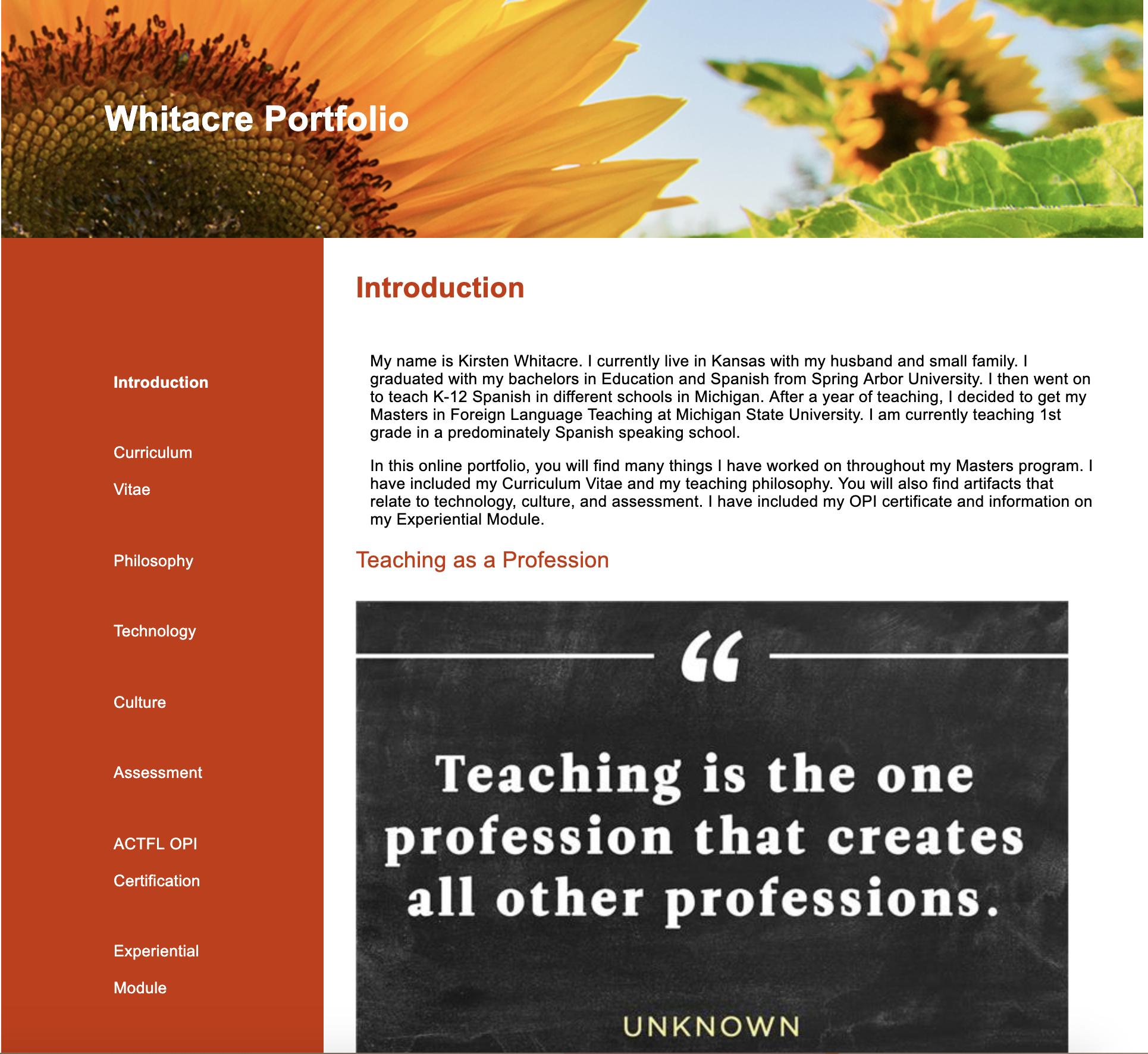 screenshot of whitacre portfolio homepage