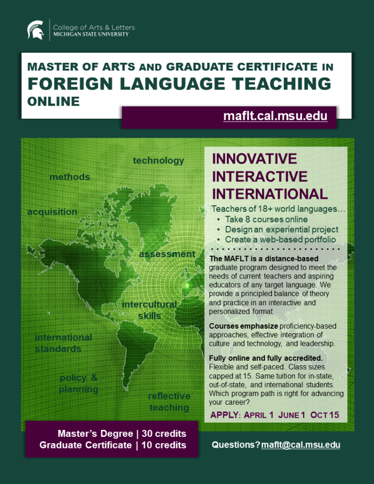 Flyer for MA and Grad Cert in FLT at Michigan State